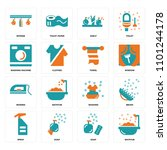 set of 16 icons such as bathtub ...