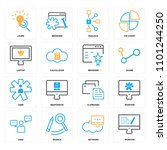 set of 16 icons such as monitor ... | Shutterstock .eps vector #1101244250