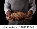 cropped shot of male baker in... | Shutterstock . vector #1101245060