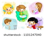 children who do different... | Shutterstock . vector #1101247040