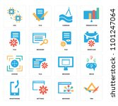 set of 16 icons such as pen ...