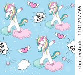 dabbing unicorn seamless... | Shutterstock .eps vector #1101247796