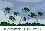 palm trees hurricane storm... | Shutterstock .eps vector #1101249449