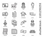set of 16 icons such as capitol ...