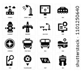 set of 16 icons such as bin ...