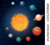 solar system with the sun and... | Shutterstock .eps vector #1101250868