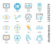 set of 16 icons such as search  ...