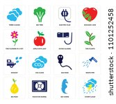 set of 16 icons such as storm...