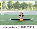 young woman sits on a twine and ... | Shutterstock . vector #1101257414