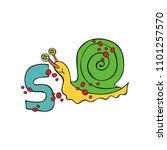 english letter s. snail.... | Shutterstock .eps vector #1101257570
