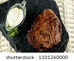 delicious roast beef with... | Shutterstock . vector #1101260000