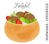 delicious falafel full of meat... | Shutterstock .eps vector #1101264113