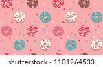 seamless pattern with donuts on ... | Shutterstock .eps vector #1101264533