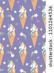 seamless pattern with unicorn... | Shutterstock .eps vector #1101264536