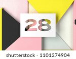 number 28 on yellow and pink... | Shutterstock . vector #1101274904