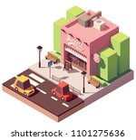 vector isometric sweets shop or ... | Shutterstock .eps vector #1101275636
