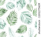 watercolor palm leaf seamless... | Shutterstock . vector #1101275639