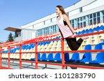young woman in sportswear... | Shutterstock . vector #1101283790