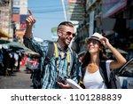 interracial tourist backpacker... | Shutterstock . vector #1101288839