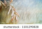 dry leaves with old clay walls... | Shutterstock . vector #1101290828