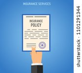 insurance services concept with ... | Shutterstock .eps vector #1101291344