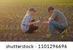 two farmers work in the field... | Shutterstock . vector #1101296696