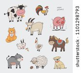 farm animals vector... | Shutterstock .eps vector #1101298793