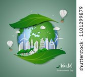 paper art design of eco... | Shutterstock .eps vector #1101299879