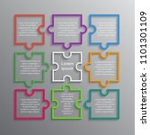 colorful puzzle nine pieces... | Shutterstock .eps vector #1101301109