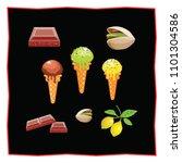 pistachio  lemon and chocolate... | Shutterstock .eps vector #1101304586