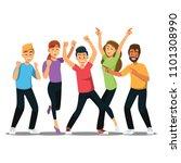 happy group of teen university... | Shutterstock .eps vector #1101308990