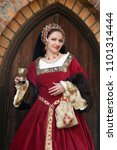 woman in medieval clothes... | Shutterstock . vector #1101314444