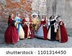 people in medieval clothes... | Shutterstock . vector #1101314450