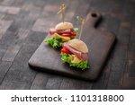 mini sandwiches with lettuce ... | Shutterstock . vector #1101318800