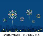 cityscape with fireworks.vector ... | Shutterstock .eps vector #1101339416