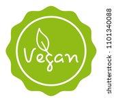 green vegan badge. eps10 vector. | Shutterstock .eps vector #1101340088