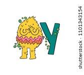 english letter y. yeti.... | Shutterstock .eps vector #1101343154