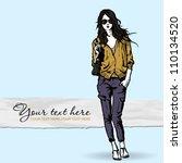 lovely girl in sketch style on... | Shutterstock .eps vector #110134520