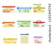 flat vector set of plastic... | Shutterstock .eps vector #1101345743