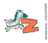 english letter z. zebra.... | Shutterstock .eps vector #1101347099