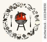 set of barbecue objects.... | Shutterstock .eps vector #1101348350