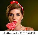 woman eating lollipops. girl in ... | Shutterstock . vector #1101352850