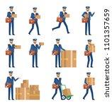 set of postman characters... | Shutterstock .eps vector #1101357659