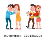 happy family with newborn. cute ... | Shutterstock .eps vector #1101363203