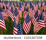 a sea of american flags ... | Shutterstock . vector #1101367208