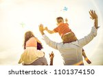 happy multiracial families... | Shutterstock . vector #1101374150