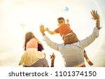 happy multiracial families... | Shutterstock . vector #1101374150