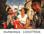 group of friends hangout at the ... | Shutterstock . vector #1101375026