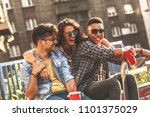 group of friends hangout at the ... | Shutterstock . vector #1101375029