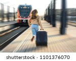 woman late from train. tourist... | Shutterstock . vector #1101376070